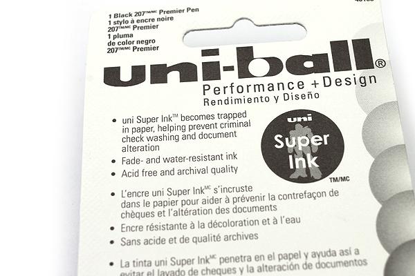 Uni-ball Signo 207 Premier Retractable Gel Pen - 0.7 mm - Silver Body - Black Ink - UNI-BALL 40108