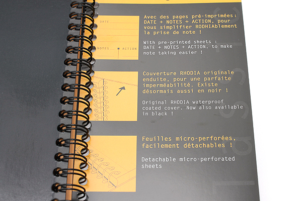"Rhodia Meeting Book - 6.5"" x 8.3"" - Lined - Black - RHODIA 193419"