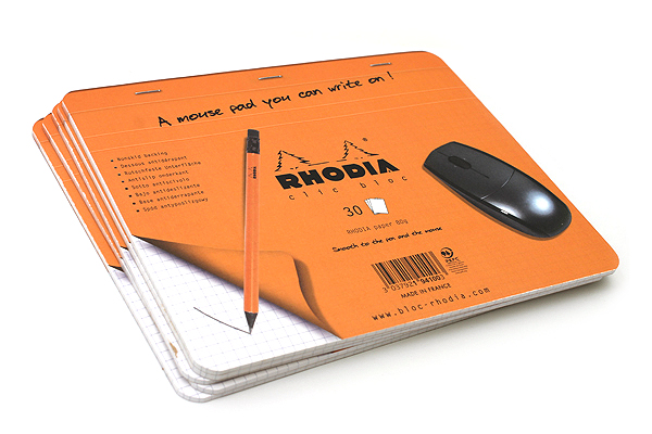 "Rhodia Clic Bloc Mouse Pad/Notepad - 7.5"" X 9"" - 30 Sheets - Bundle of 5 - RHODIA 19410 BUNDLE"