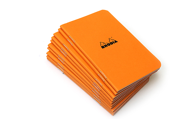 "Rhodia Staple Bound Classic Notebook - Orange - 3"" X 4.8"" - 24 Sheets - Graph - Bundle of 10 - RHODIA 119158 BUNDLE"