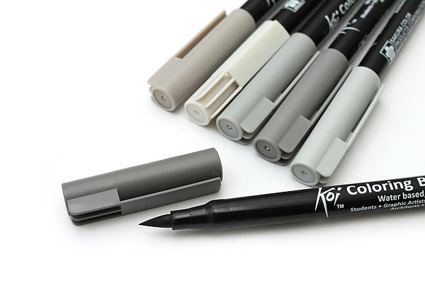 Sakura Koi Coloring Brush Pen - 6 Gray Color Set - SAKURA XBR-6SA