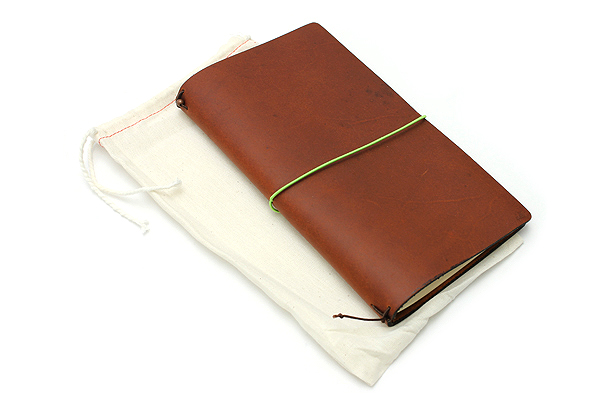 "Pelle Leather Journal - Burnt Cognac - Large + 1 Plain Linen Paper Notebook (4.3"" X 8.3"") Insert - 64 Pages - PELLE LJ L BC"