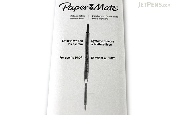 Paper Mate PhD Retractable Ballpoint Pen Refill - 1.0 mm - Black - Pack of 2 - PAPER MATE 4932431PP