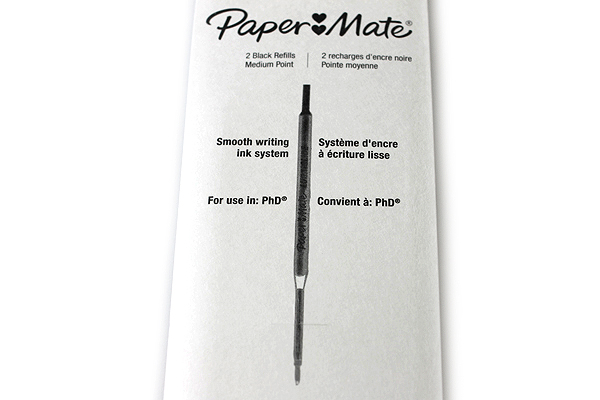 Paper Mate PhD Retractable Ballpoint Pen Refill - 1.0 mm - Black - Pack of 2 - PAPER MATE 4932431PP