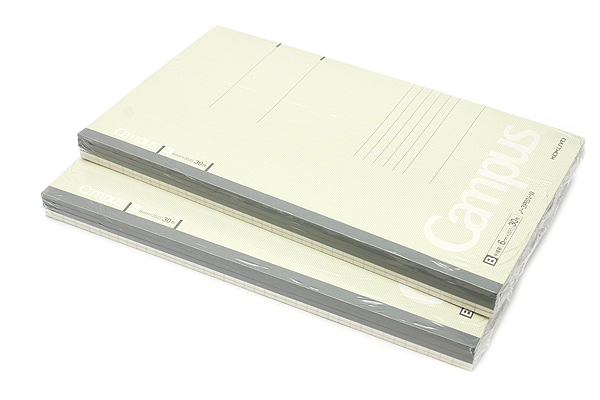 Kokuyo Campus Notebook - Slim B5 - 6 mm Rule - 30 Sheets - Light Gray - Bundle of 10 - KOKUYO NO-3PBN-W BUNDLE