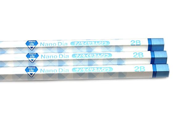 Uni NanoDia Pencil - 2B - Blue Body - Pack of 3 - UNI K65952B