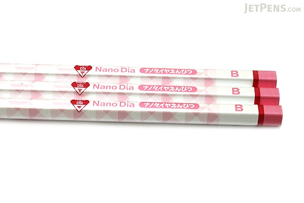 Uni NanoDia Pencil - B - Pink Body - Pack of 3 - UNI K6598B