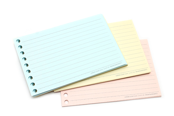 Maruman Smooth to Write Loose Leaf Mini Paper - B7 Modified - 6 mm Rule - 3 Color Assortment - 9 Holes - 90 Sheets - MARUMAN L1431-99