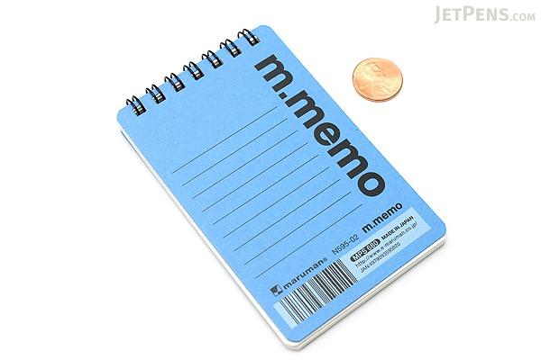 """Maruman M.Memo Mini Notepad - A7 (4.1"""" X 2.9"""") - 6 mm Rule - 50 Sheet - Blue - MARUMAN N595A-02"""