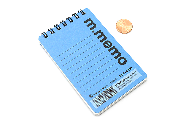 "Maruman M.Memo Mini Notepad - A7 (4.1"" X 2.9"") - 6 mm Rule - 50 Sheet - Blue - MARUMAN N595-02"