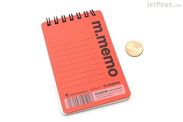 """Maruman M.Memo Mini Notepad - A7 (4.1"""" X 2.9"""") - 6 mm Rule - 50 Sheet - Red - MARUMAN N595-01"""