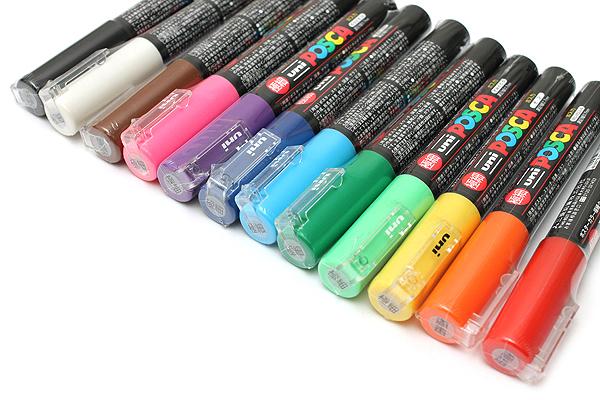 Uni Posca Paint Marker PC-1M - Extra Fine Point - 12 Color Set - UNI PC1M 12C