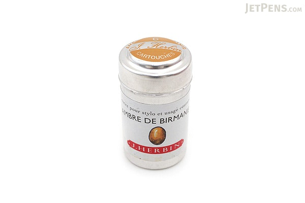 J. Herbin Fountain Pen Ink Cartridge - Ambre de Birmanie (Amber Gold of Burma) - Pack of 6 - J. HERBIN H201/41