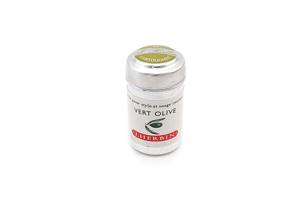 J. Herbin Fountain Pen Ink Cartridge - Vert Olive (Olive Green) - Pack of 6 - J. HERBIN H201/36