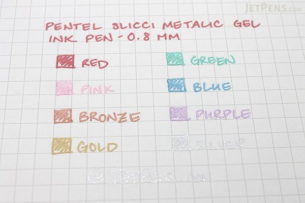 Pentel Slicci Metallic Gel Ink Pen - 0.8 mm - 5 Color Set - PENTEL BG208-M5