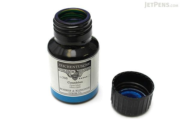 Rohrer & Klingner Calligraphy and Drawing Ink - 50 ml Bottle - Cyanblau (Cyan Blue) - ROHRER-KLINGNER 29 703 050