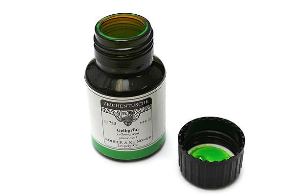 Rohrer & Klingner Calligraphy and Drawing Ink - 50 ml Bottle - Gelbgrün (Yellow Green) - ROHRER-KLINGNER 29 753 050