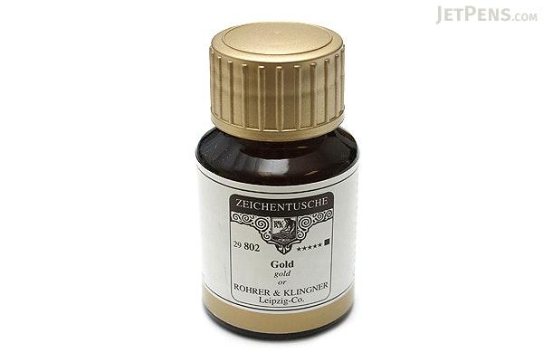 Rohrer & Klingner Calligraphy and Drawing Ink - 50 ml Bottle - Gold - ROHRER-KLINGNER 29 802 050