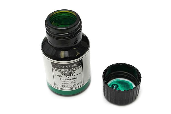 Rohrer & Klingner Calligraphy and Drawing Ink - 50 ml Bottle - Phthalogrün (Phthalo Green) - ROHRER-KLINGNER 29 750 050