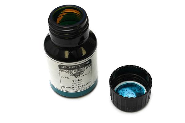 Rohrer & Klingner Calligraphy and Drawing Ink - 50 ml Bottle - Türkis (Turquoise Blue) - ROHRER-KLINGNER 29 743 050