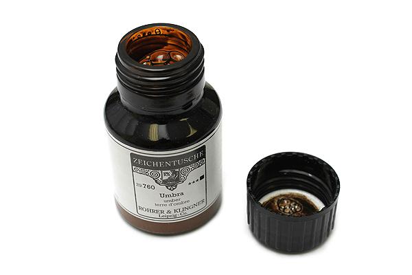 Rohrer & Klingner Calligraphy and Drawing Ink - 50 ml Bottle - Umbra (Umber Brown) - ROHRER-KLINGNER 29 760 050