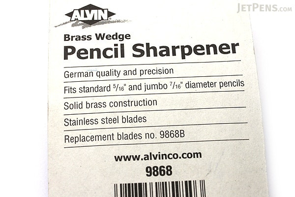 Alvin Brass Pencil Sharpener - Wedge - 2 Holes - ALVIN 9868