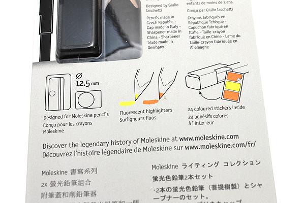 Moleskine Highlighter Pencil Set - 2 Pencils + 1 Cap + 1 Sharpener - MOLESKINE 978-88-6613-297-4