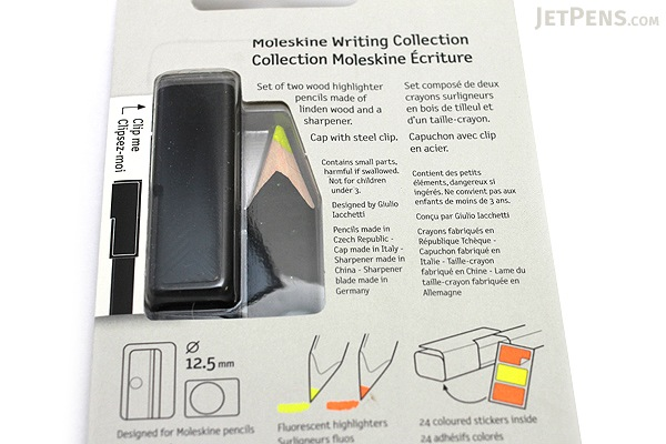 Moleskine Highlighter Pencil Set - 2 Pencils + 1 Cap + 1 Sharpener - MOLESKINE 978-88-6613-297-4