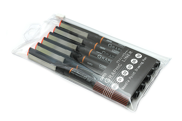 Ohto Graphic Liner Needle Point Drawing Pen - Pigment Ink - Set of 6 - OHTO CFR-150GL/6P