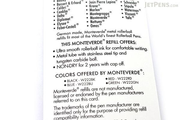 Monteverde Ceramic Rollerball Pen Refill - Red - Pack of 2 - MONTEVERDE W222RD