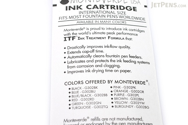 Monteverde Fountain Pen Standard Ink Cartridge - Blue - Pack of 6 - MONTEVERDE G302BU