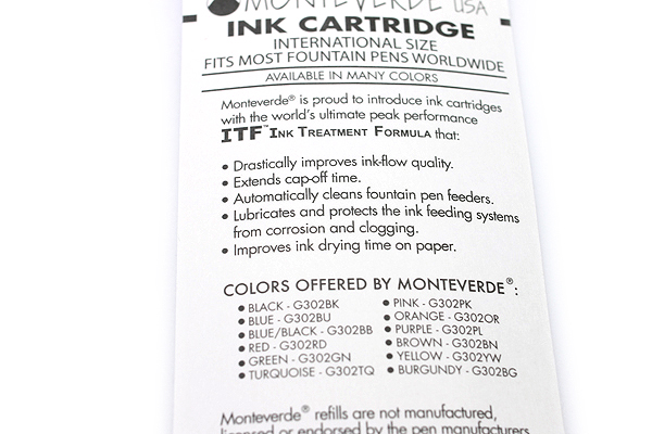 Monteverde Fountain Pen Standard Ink Cartridge - Pink - Pack of 6 - MONTEVERDE G302PK