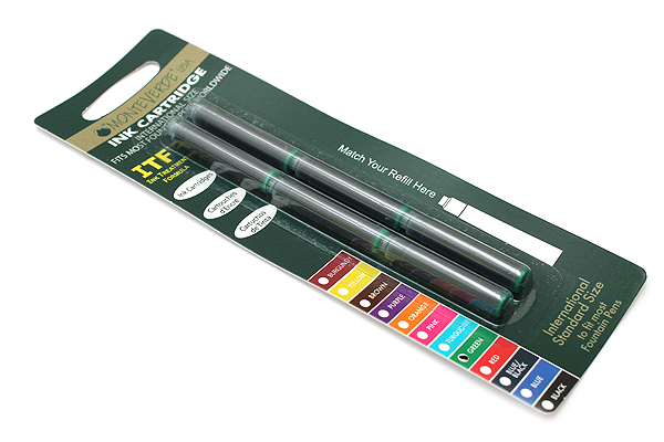 Monteverde Fountain Pen Standard Ink Cartridge - Green - Pack of 6 - MONTEVERDE G302GN