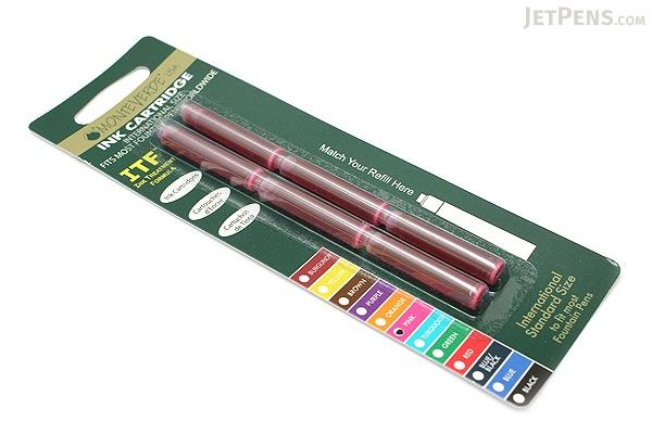 Monteverde Fountain Pen Standard Ink Cartridge - Pink - Pack of 6 - MONTEVERDE G302PK