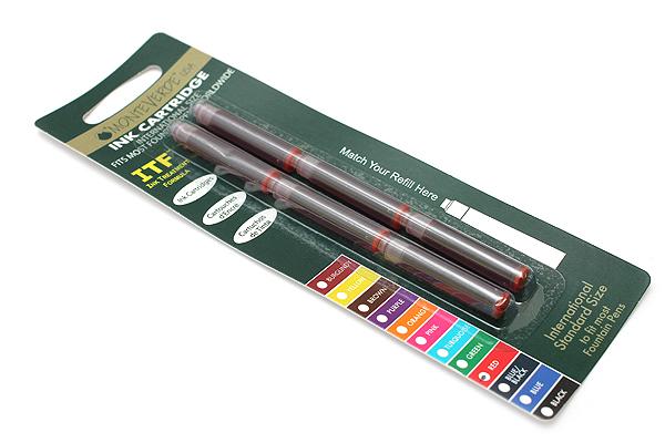 Monteverde Fountain Pen Standard Ink Cartridge - Red - Pack of 6 - MONTEVERDE G302RD