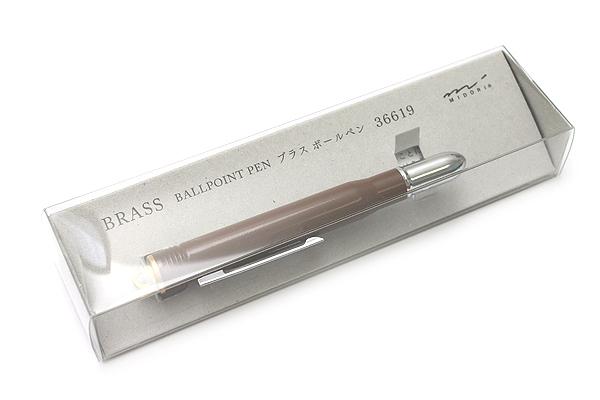 Midori Brass Bullet Ballpoint Pen - 0.5 mm - Brown Body - Black Ink - MIDORI 36619-006