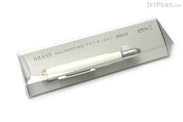 Midori Brass Bullet Ballpoint Pen - 0.5 mm - White Body - Black Ink - MIDORI 36618-006