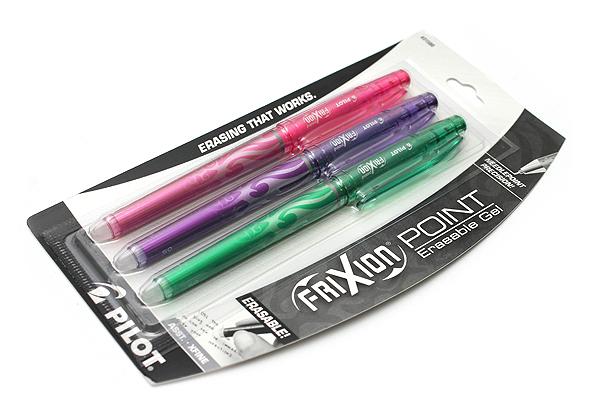Pilot FriXion Point US Erasable Gel Pen - 0.5 mm - 3 Color Set (Pink/Purple/Green) - PILOT 31580