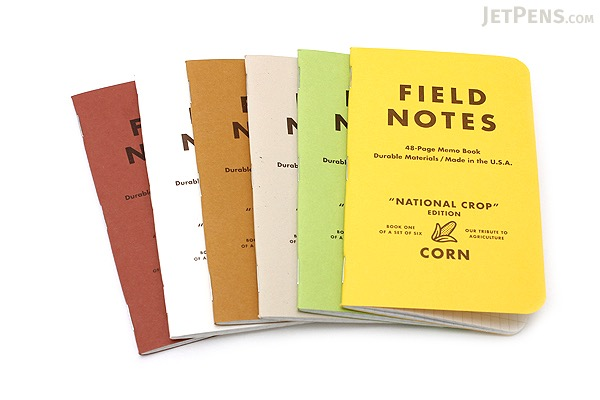 """Field Notes Color Cover Memo Book - National Crop Limited Edition - 3.5"""" X 5.5"""" - 48 Pages - 5 mm Graph - Pack of 6 - FEILD NOTES FNC-14"""