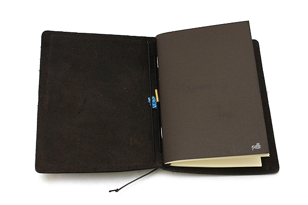 """Pelle Leather Journal - Rustic Saddle - Small + 1 Plain Linen Paper Notebook (3.4"""" X 4.9"""") Insert - 64 Pages - PELLE LJ S RS"""