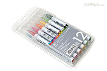 Kuretake Zig Clean Color Real Brush Pen - 12 Color Set - KURETAKE RB-6000AT-12VA