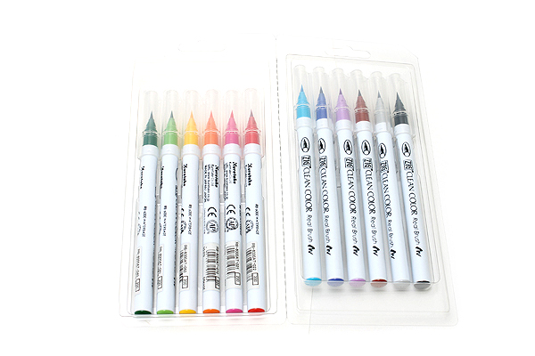 Kuretake Clean Color Real Brush Pen - 12 Color Set - KURETAKE RB-6000AT-12VA