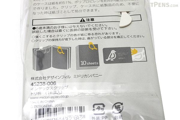 Midori Index Clip - Bird - 3 Colors - Pack of 18 - MIDORI 43238-006