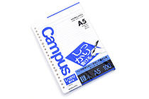 Kokuyo Campus Loose Leaf Paper - Shikkari - A5 - 6 mm Rule - 20 Holes - 100 Sheets - KOKUYO NO-S807B