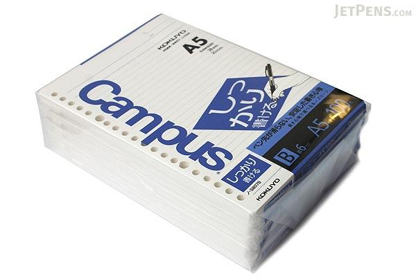 Kokuyo Campus Loose Leaf Paper - Shikkari - A5 - 6 mm Rule - 20 Holes - 100 Sheets - Bundle of 5 - KOKUYO NO-S807B BUNDLE