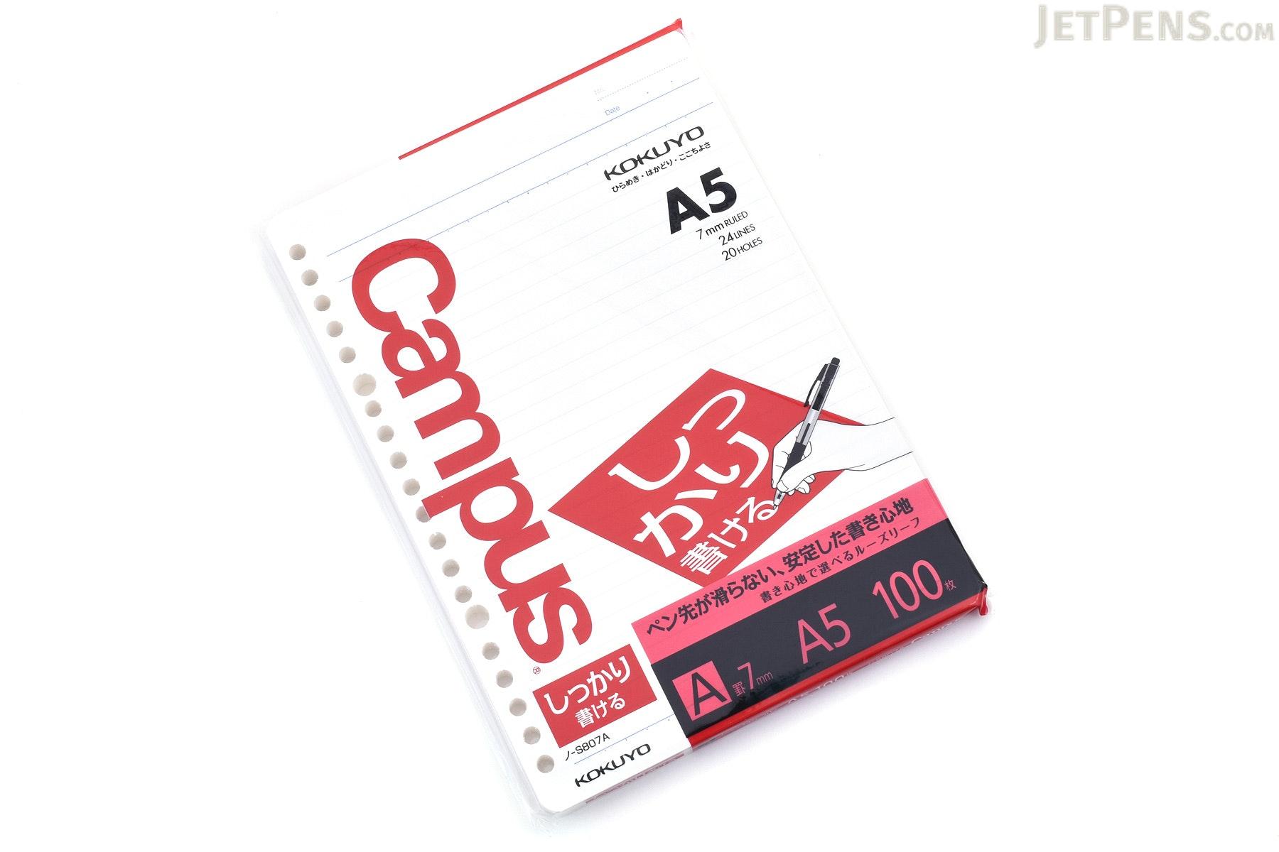 Kokuyo Campus Loose Leaf Paper - Shikkari - A5 - 7 mm Rule - 20 Holes - 100 Sheets - Bundle of 5 - KOKUYO NO-S807A BUNDLE