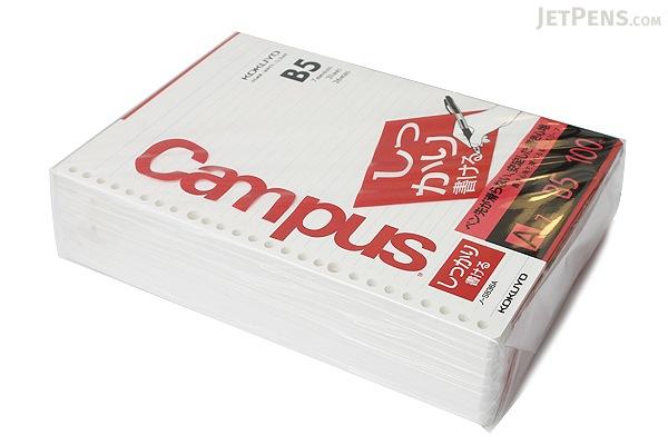 Kokuyo Campus Loose Leaf Paper - Shikkari - B5 - 7 mm Rule - 26 Holes - 100 Sheets - Bundle of 5 - KOKUYO NO-S836A BUNDLE