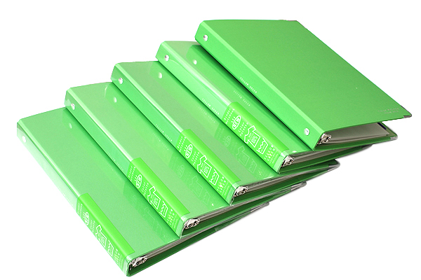 Kokuyo Color Palette Binder - A5 - 20 Rings - Yellow Green - Bundle of 5 - KOKUYO RU-105-5Z BUNDLE