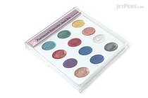 Kuretake Japanese Gansai Watercolor Palette - 12 Pearlescent Color Set - KURETAKE WSKG204-5