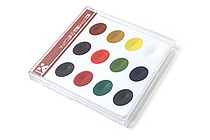 Kuretake Japanese Gansai Watercolor Palette - 12 Traditional Color Set - KURETAKE KG204-4